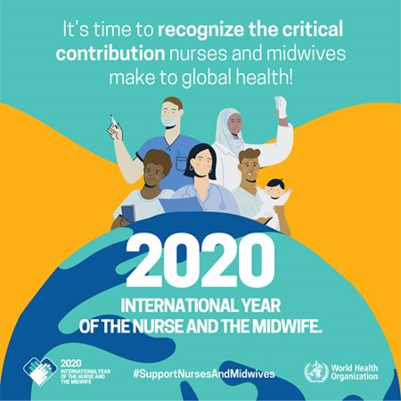 "Graphic supplied by the World Health Organisation to promote 2020 International Year of the Nurse and Midwife. It shows a group of nurses above the world and reads ""It's time to recognize the critical contribution nurses and midwives make to global health! #SupportNursesAndMidwives"""
